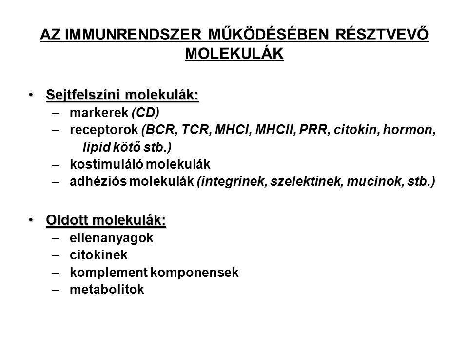 AZ IMMUNRENDSZER MŰKÖDÉSÉBEN RÉSZTVEVŐ MOLEKULÁK Sejtfelszíni molekulák:Sejtfelszíni molekulák: – markerek (CD) – receptorok (BCR, TCR, MHCI, MHCII, PRR, citokin, hormon, lipid kötő stb.) – kostimuláló molekulák – adhéziós molekulák (integrinek, szelektinek, mucinok, stb.) Oldott molekulák:Oldott molekulák: – ellenanyagok – citokinek – komplement komponensek – metabolitok