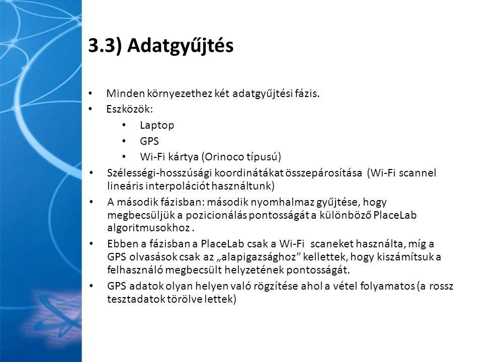 3.3) Adatgyűjtés Minden környezethez két adatgyűjtési fázis.