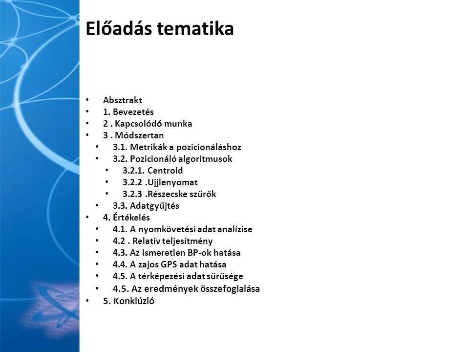 3.2) Pozícionáló algoritmusok Centroid Ujjlenyomat Részecskeszűrő