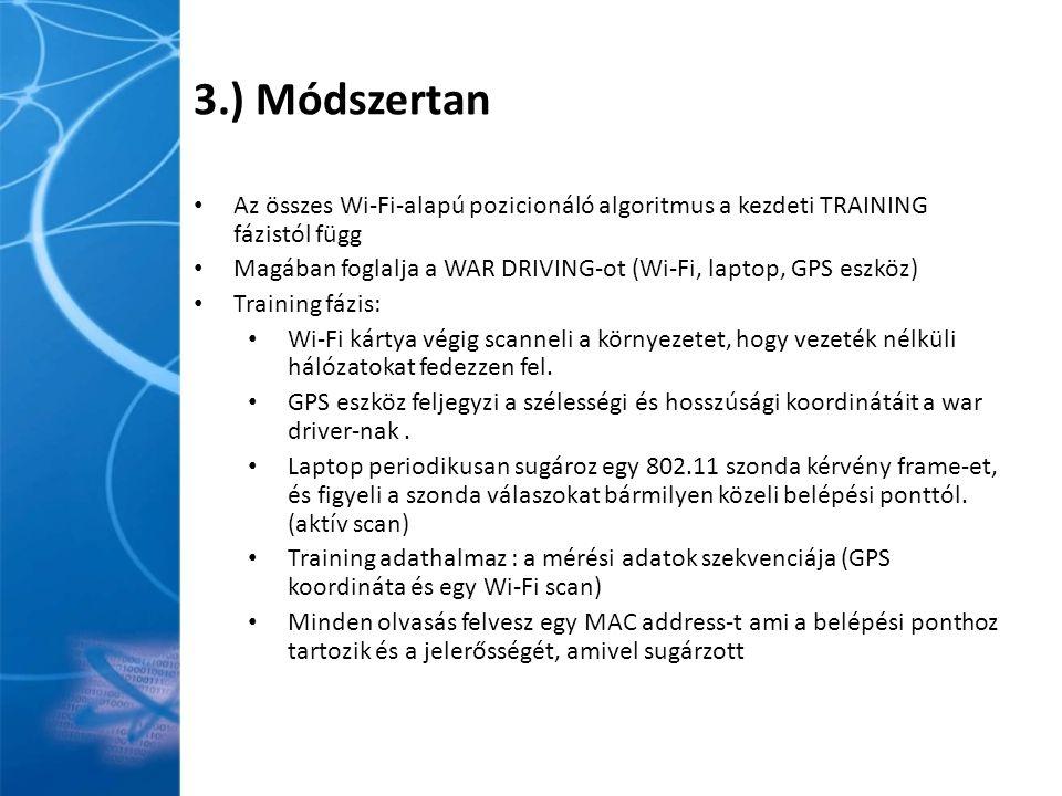 3.) Módszertan Az összes Wi-Fi-alapú pozicionáló algoritmus a kezdeti TRAINING fázistól függ Magában foglalja a WAR DRIVING-ot (Wi-Fi, laptop, GPS eszköz) Training fázis: Wi-Fi kártya végig scanneli a környezetet, hogy vezeték nélküli hálózatokat fedezzen fel.