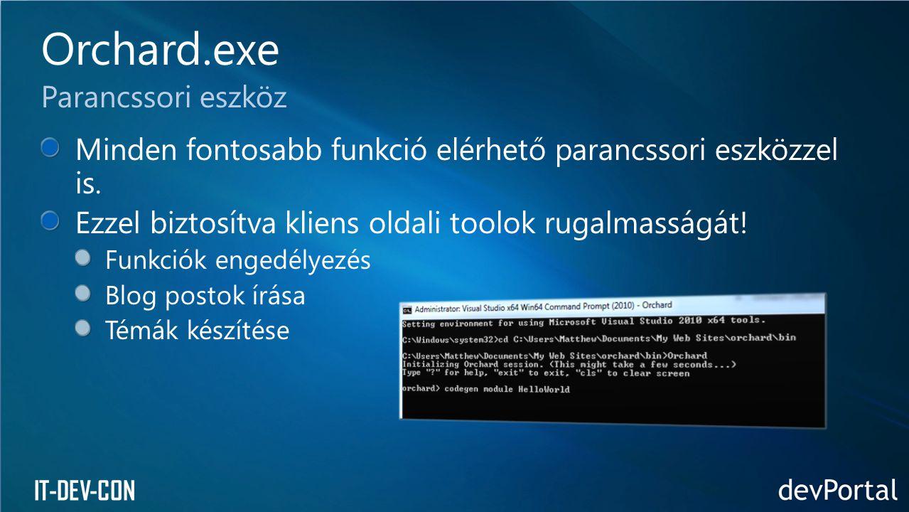 IT-DEV-CON Minden fontosabb funkció elérhető parancssori eszközzel is. Ezzel biztosítva kliens oldali toolok rugalmasságát! Funkciók engedélyezés Blog