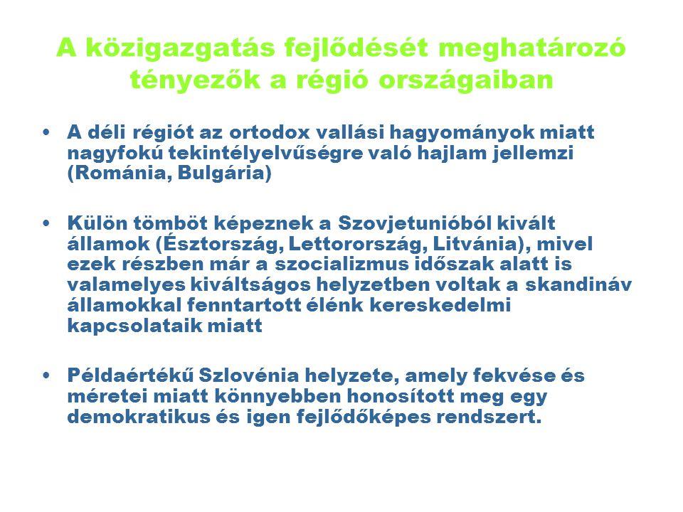 Az alábbiakban azzal a három országgal kívánunk foglalkozni, amelyek közigazgatásuk relatív fejlettsége folytán értékes tapasztalatokkal szolgálhatnak Magyarország számára Ezek: Lengyelország, Csehország és Szolvénia