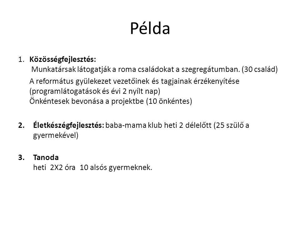 Példa 1. Közösségfejlesztés: Munkatársak látogatják a roma családokat a szegregátumban.