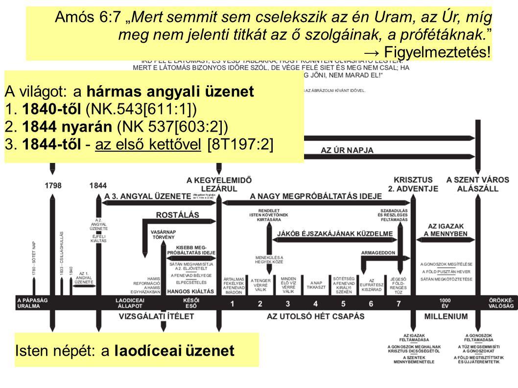 """A világot: a hármas angyali üzenet 1. 1840-től (NK.543[611:1]) 2. 1844 nyarán (NK 537[603:2]) 3. 1844-től - az első kettővel [8T197:2] Amós 6:7 """"Mert"""