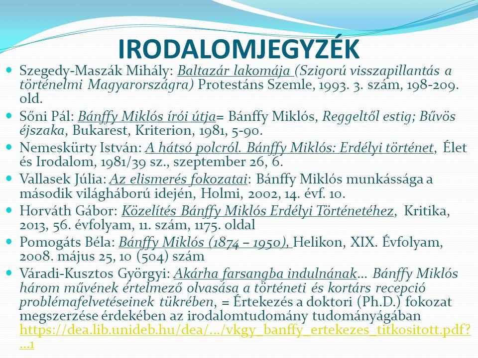 IRODALOMJEGYZÉK Szegedy-Maszák Mihály: Baltazár lakomája (Szigorú visszapillantás a történelmi Magyarországra) Protestáns Szemle, 1993.