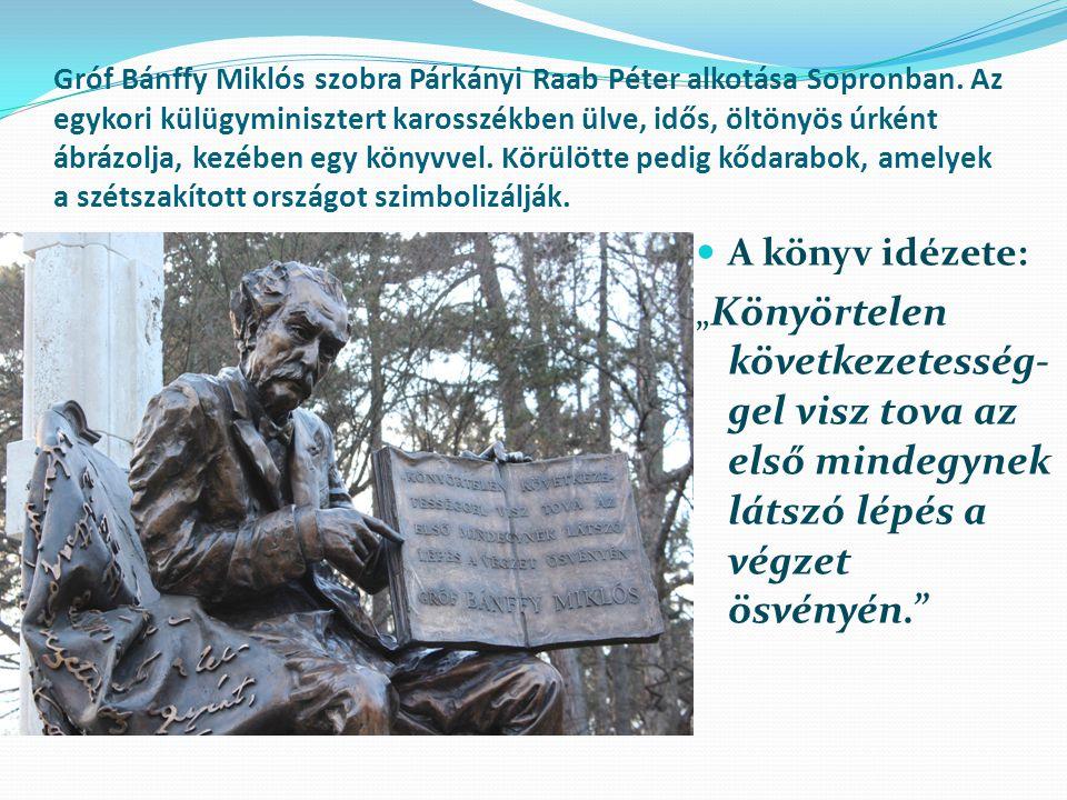 Gróf Bánffy Miklós szobra Párkányi Raab Péter alkotása Sopronban.