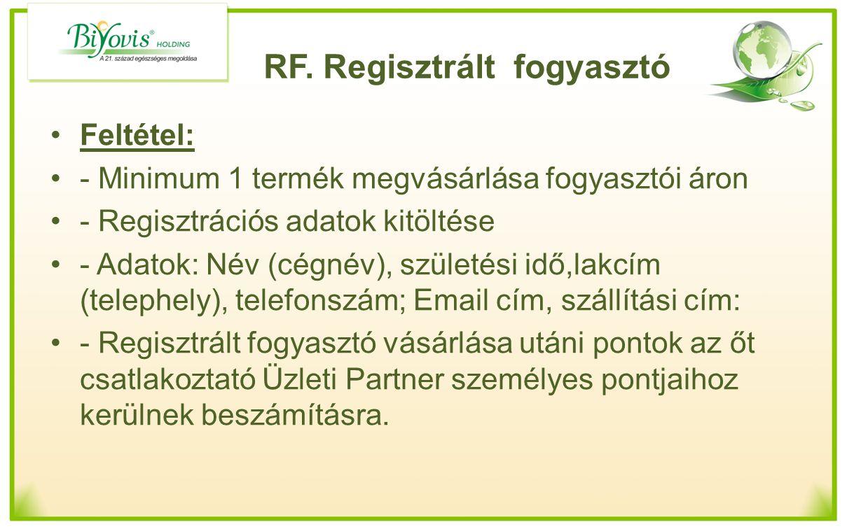 RF. Regisztrált fogyasztó Feltétel: - Minimum 1 termék megvásárlása fogyasztói áron - Regisztrációs adatok kitöltése - Adatok: Név (cégnév), születési