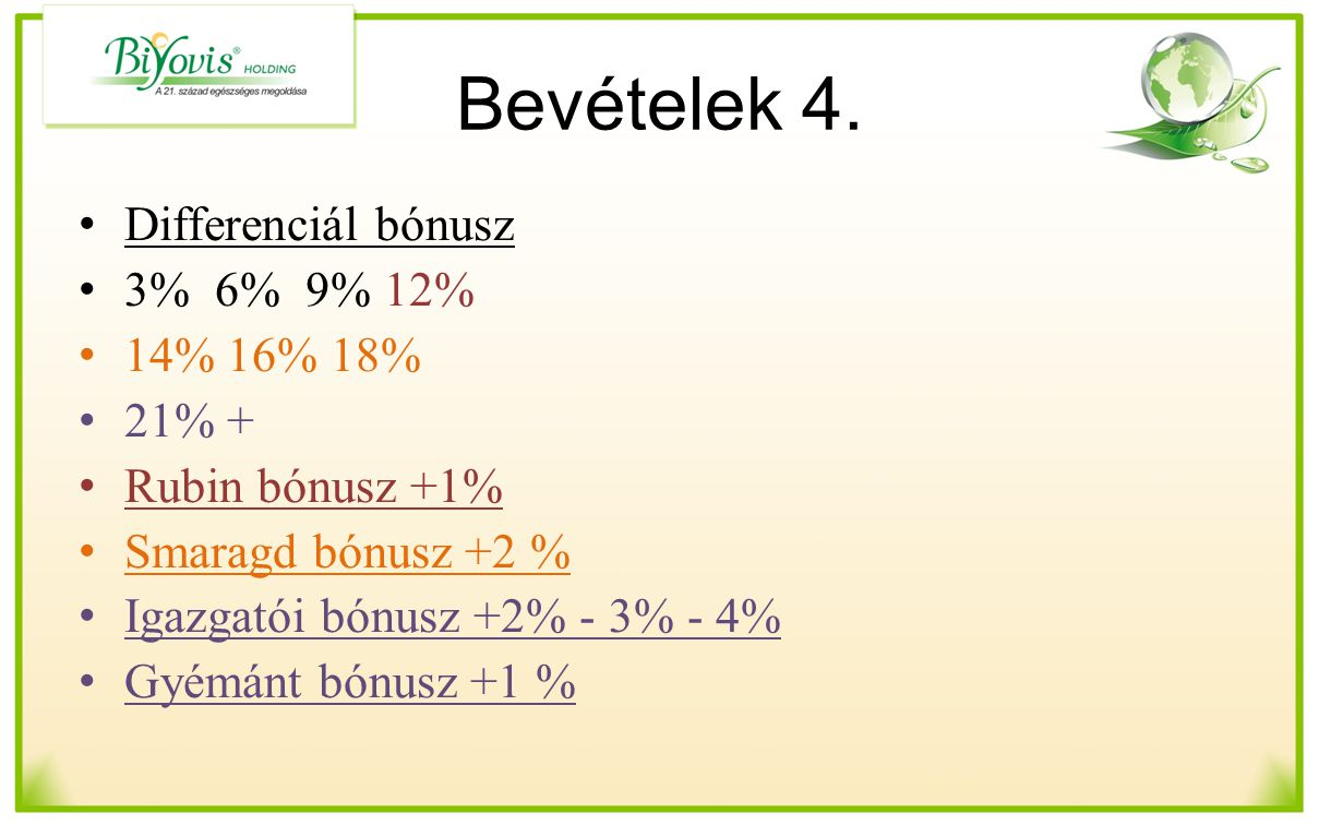 Bevételek 4. Differenciál bónusz 3% 6% 9% 12% 14% 16% 18% 21% + Rubin bónusz +1% Smaragd bónusz +2 % Igazgatói bónusz +2% - 3% - 4% Gyémánt bónusz +1