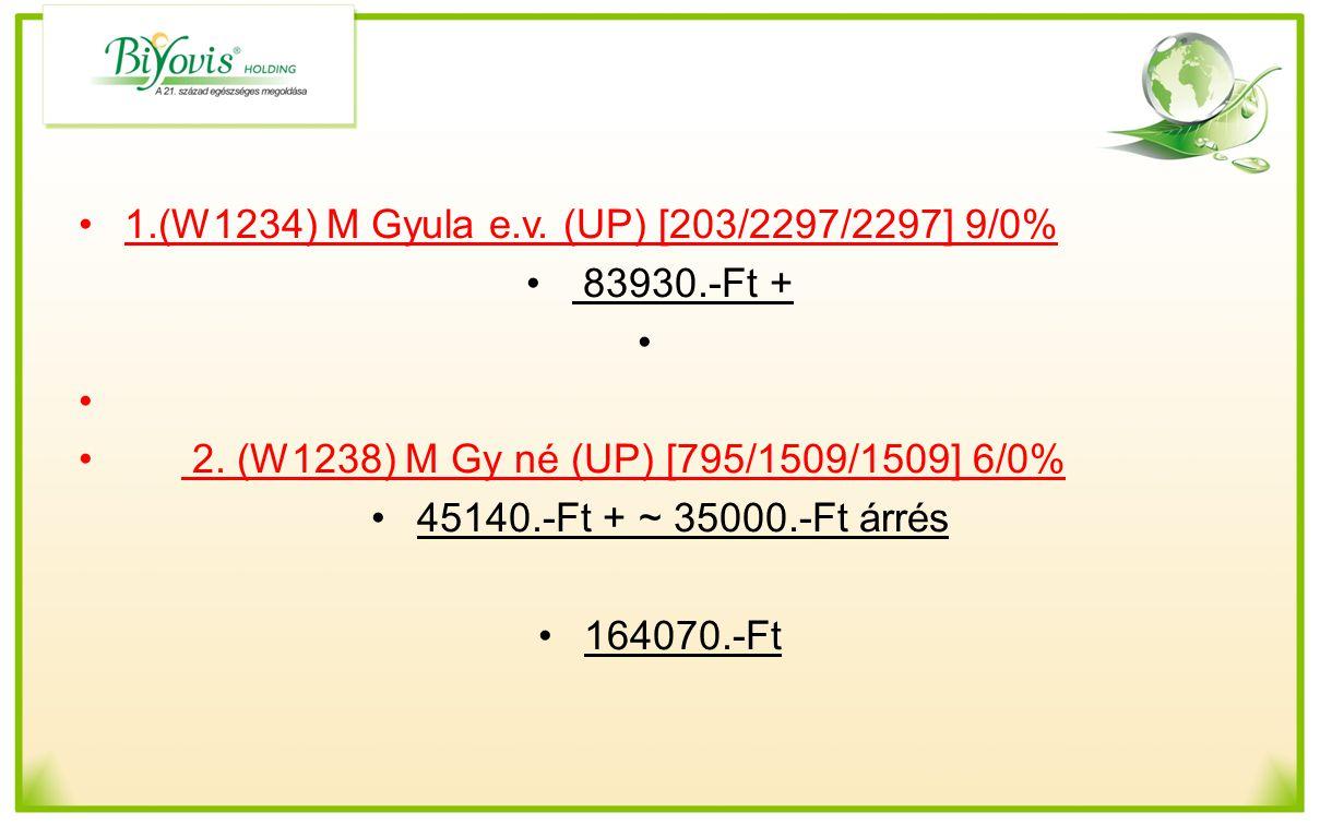 1.(W1234) M Gyula e.v. (UP) [203/2297/2297] 9/0% 83930.-Ft + 2. (W1238) M Gy né (UP) [795/1509/1509] 6/0% 45140.-Ft + ~ 35000.-Ft árrés 164070.-Ft