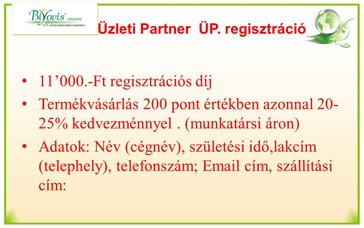 Üzleti Partner ÜP. regisztráció 11'000.-Ft regisztrációs díj Termékvásárlás 200 pont értékben azonnal 20- 25% kedvezménnyel. (munkatársi áron) Adatok: