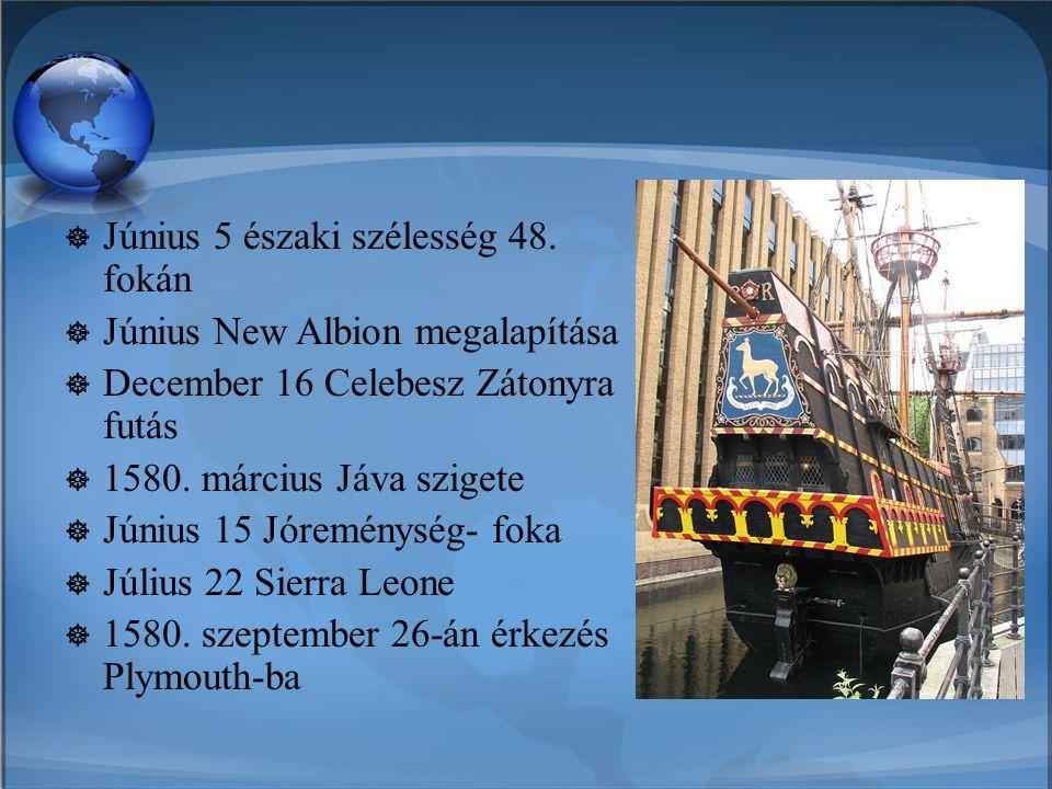  Június 5 északi szélesség 48. fokán  Június New Albion megalapítása  December 16 Celebesz Zátonyra futás  1580. március Jáva szigete  Június 15