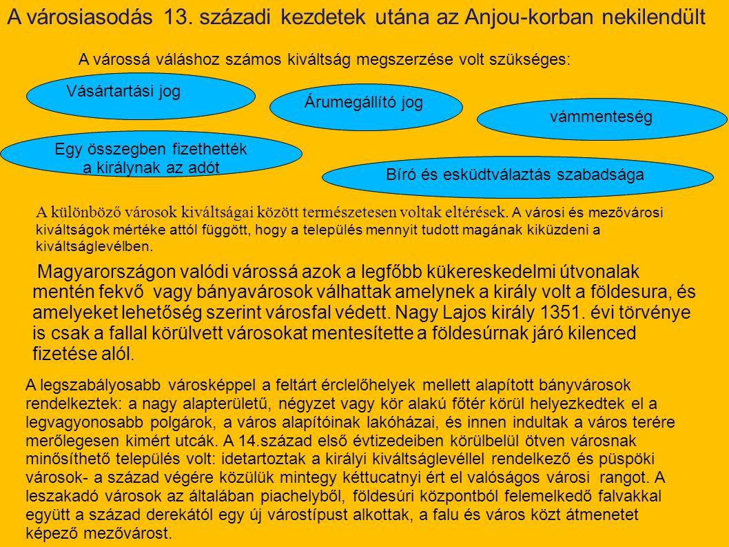 A várossá váláshoz számos kiváltság megszerzése volt szükséges: Vásártartási jog Árumegállító jog vámmenteség Bíró és esküdtválaztás szabadsága Magyar