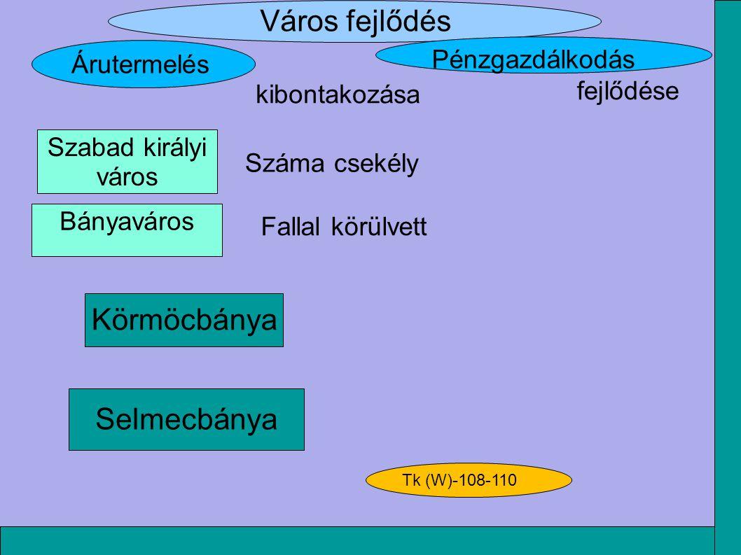 Város fejlődés Selmecbánya Körmöcbánya kibontakozása Árutermelés Pénzgazdálkodás fejlődése Száma csekély Fallal körülvett Szabad királyi város Bányavá