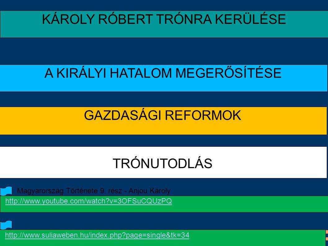 KÁROLY RÓBERT TRÓNRA KERÜLÉSE A KIRÁLYI HATALOM MEGERŐSÍTÉSE GAZDASÁGI REFORMOK TRÓNUTODLÁS http://www.suliaweben.hu/index.php?page=single&tk=34 http: