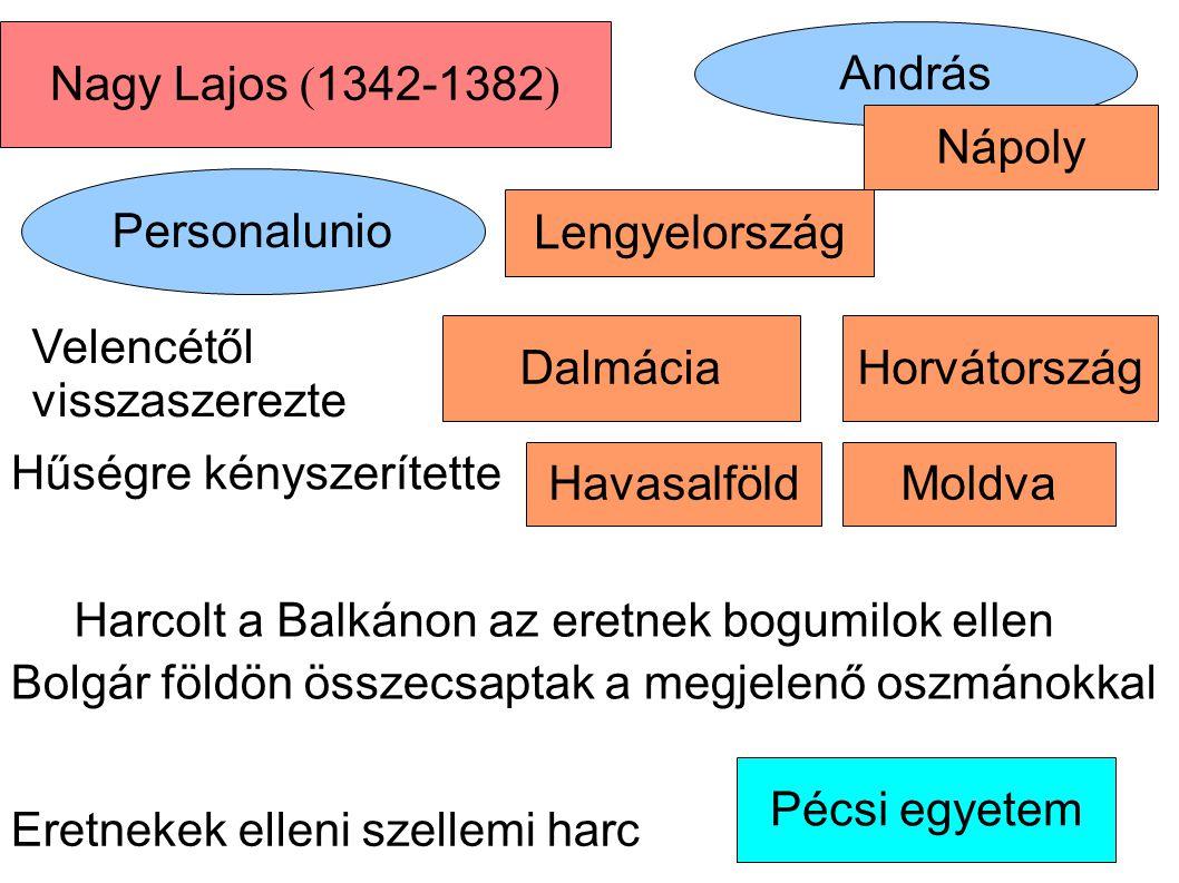Moldva András Personalunio Nagy Lajos ( 1342-1382 ) Pécsi egyetem Havasalföld DalmáciaHorvátország Nápoly Lengyelország Velencétől visszaszerezte Hűsé