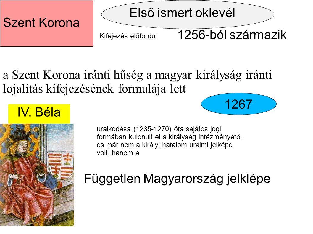 Első ismert oklevél 1256-ból származik Szent Korona Kifejezés előfordul a Szent Korona iránti hűség a magyar királyság iránti lojalitás kifejezésének