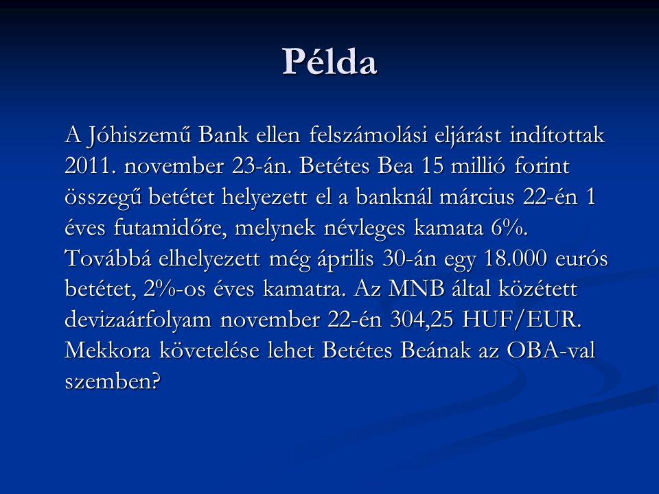 Példa A Jóhiszemű Bank ellen felszámolási eljárást indítottak 2011. november 23-án. Betétes Bea 15 millió forint összegű betétet helyezett el a bankná