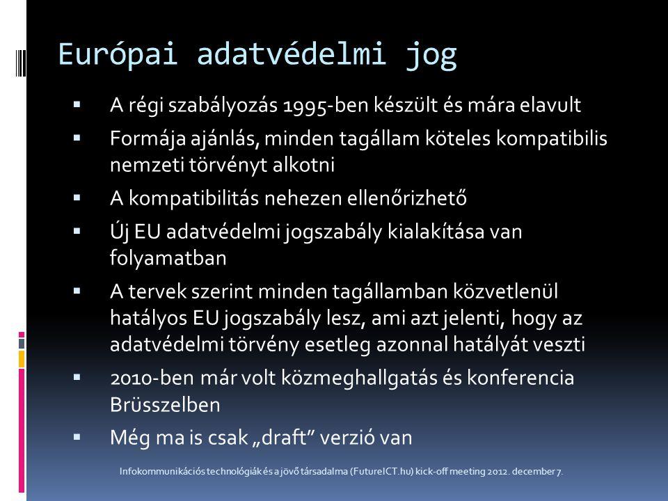 Európai adatvédelmi jog  A régi szabályozás 1995-ben készült és mára elavult  Formája ajánlás, minden tagállam köteles kompatibilis nemzeti törvényt
