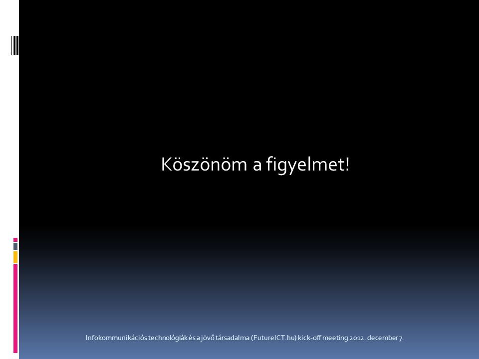 Köszönöm a figyelmet! Infokommunikációs technológiák és a jövő társadalma (FutureICT.hu) kick-off meeting 2012. december 7.