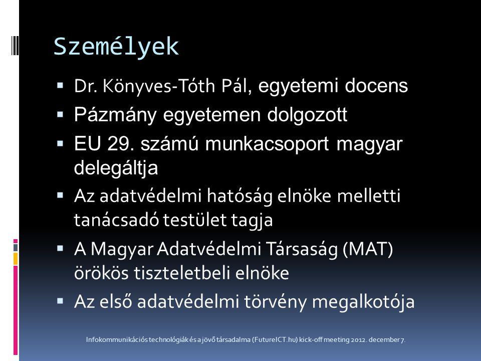  Dr. Könyves-Tóth Pál, egyetemi docens  Pázmány egyetemen dolgozott  EU 29. számú munkacsoport magyar delegáltja  Az adatvédelmi hatóság elnöke me