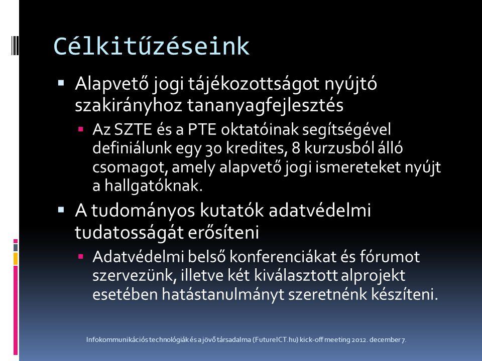 Célkitűzéseink  Alapvető jogi tájékozottságot nyújtó szakirányhoz tananyagfejlesztés  Az SZTE és a PTE oktatóinak segítségével definiálunk egy 30 kr