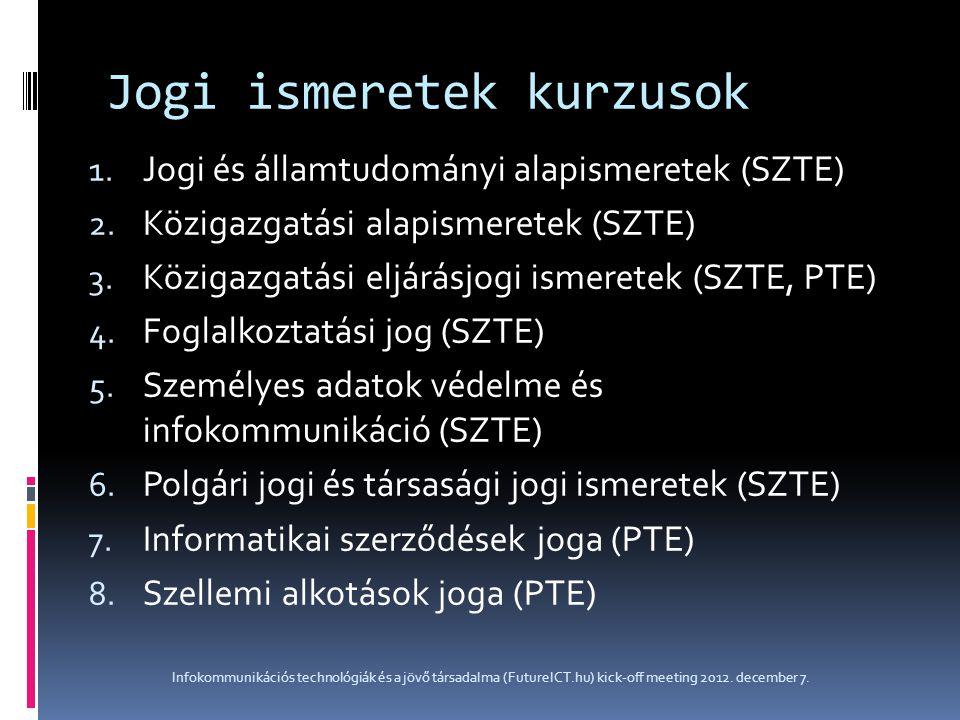 Jogi ismeretek kurzusok 1. Jogi és államtudományi alapismeretek (SZTE) 2. Közigazgatási alapismeretek (SZTE) 3. Közigazgatási eljárásjogi ismeretek (S