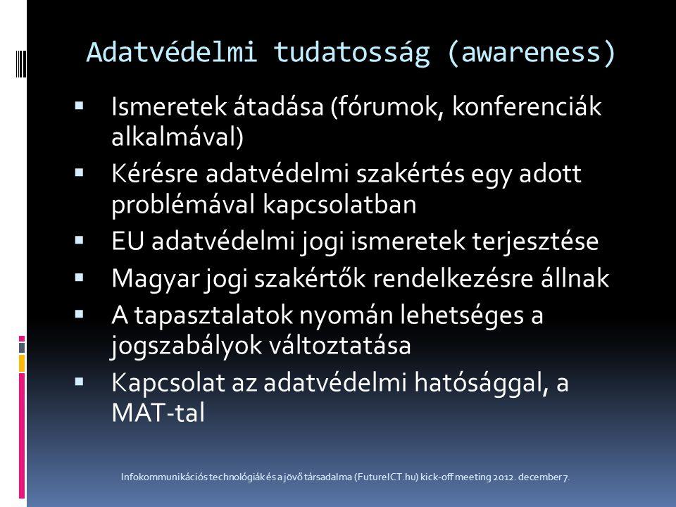 Adatvédelmi tudatosság (awareness)  Ismeretek átadása (fórumok, konferenciák alkalmával)  Kérésre adatvédelmi szakértés egy adott problémával kapcso