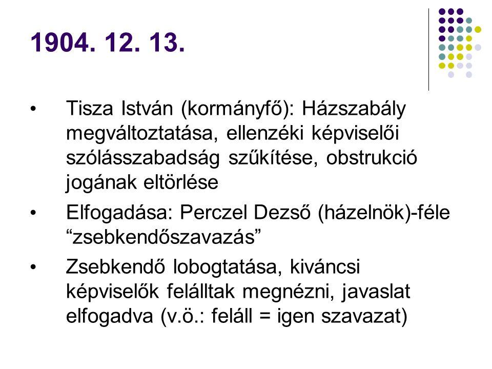 1904. 12. 13. Tisza István (kormányfő): Házszabály megváltoztatása, ellenzéki képviselői szólásszabadság szűkítése, obstrukció jogának eltörlése Elfog