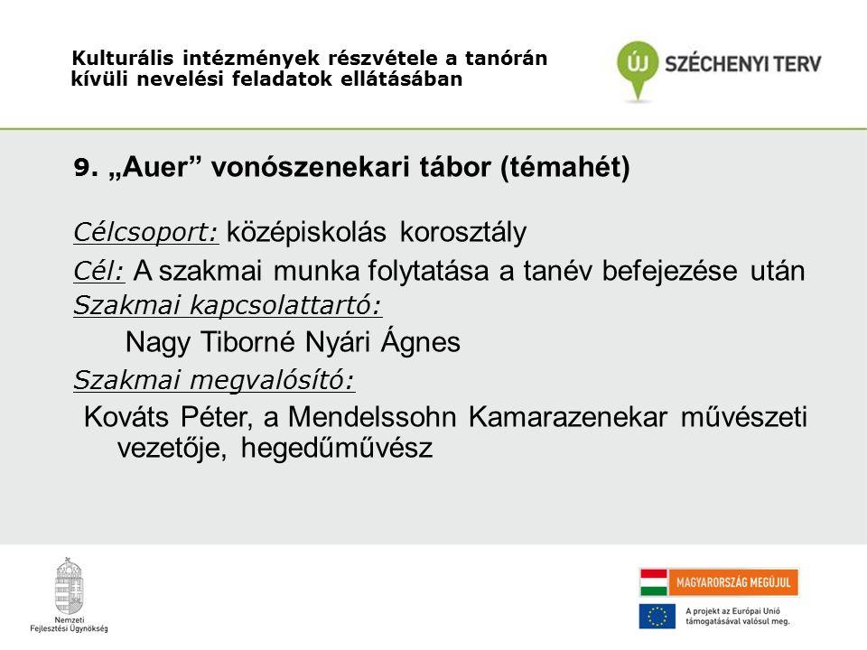 """9. """"Auer"""" vonószenekari tábor (témahét) Célcsoport: középiskolás korosztály Cél: A szakmai munka folytatása a tanév befejezése után Szakmai kapcsolatt"""