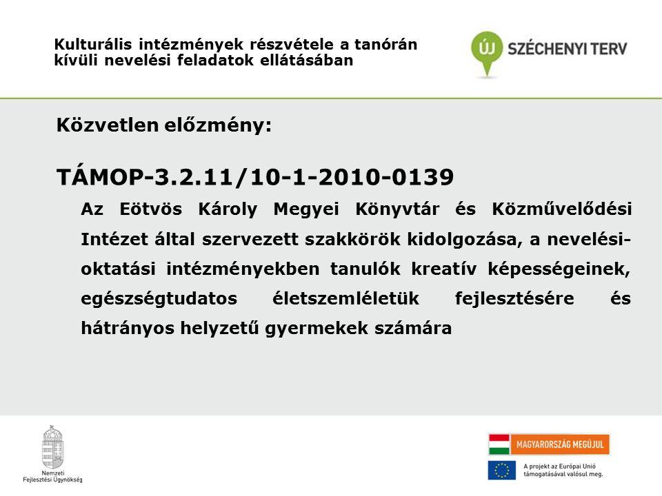 Közvetlen előzmény: TÁMOP-3.2.11/10-1-2010-0139 Az Eötvös Károly Megyei Könyvtár és Közművelődési Intézet által szervezett szakkörök kidolgozása, a nevelési- oktatási intézményekben tanulók kreatív képességeinek, egészségtudatos életszemléletük fejlesztésére és hátrányos helyzetű gyermekek számára Kulturális intézmények részvétele a tanórán kívüli nevelési feladatok ellátásában