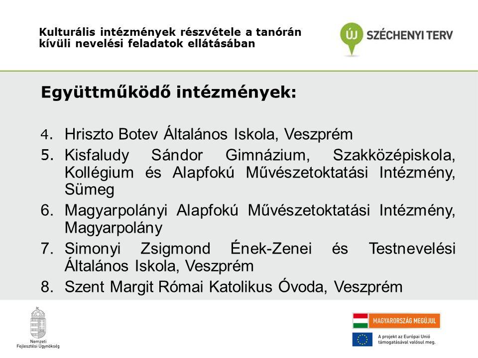 Együttműködő intézmények: 4. Hriszto Botev Általános Iskola, Veszprém 5.