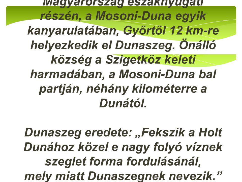 Magyarország északnyugati részén, a Mosoni-Duna egyik kanyarulatában, Győrtől 12 km-re helyezkedik el Dunaszeg. Önálló község a Szigetköz keleti harma