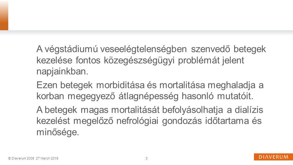 A team munka, az oktatás előnyei: Javuló klinikai állapot ( életminőség, rehabilitáció) Nagyobb betegelégedettség Kisebb kockázat a szövődmények kialakulására Csökkenő hospitalizációs igény Javuló költséghatékonyság Következtetések 24© Diaverum 200827 March 2015