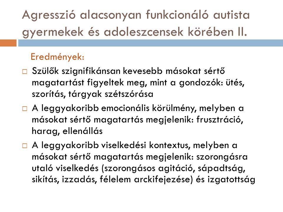 Agresszió alacsonyan funkcionáló autista gyermekek és adoleszcensek körében II. Eredmények:  Szülők szignifikánsan kevesebb másokat sértő magatartást