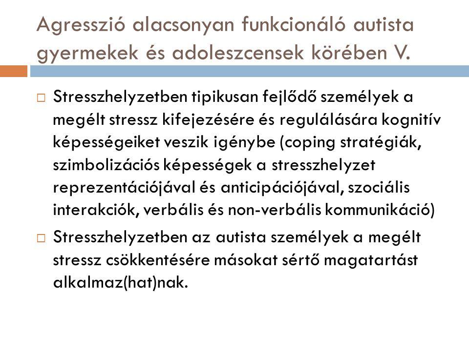 Agresszió alacsonyan funkcionáló autista gyermekek és adoleszcensek körében V.  Stresszhelyzetben tipikusan fejlődő személyek a megélt stressz kifeje