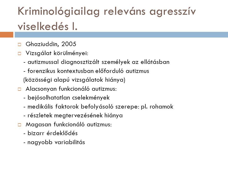 Kriminológiailag releváns agresszív viselkedés I.  Ghaziuddin, 2005  Vizsgálat körülményei: - autizmussal diagnosztizált személyek az ellátásban - f