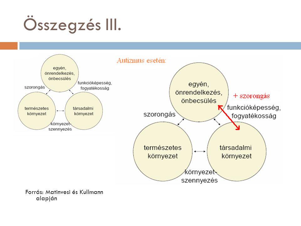 Összegzés III. Forrás: Matinvesi és Kullmann alapján