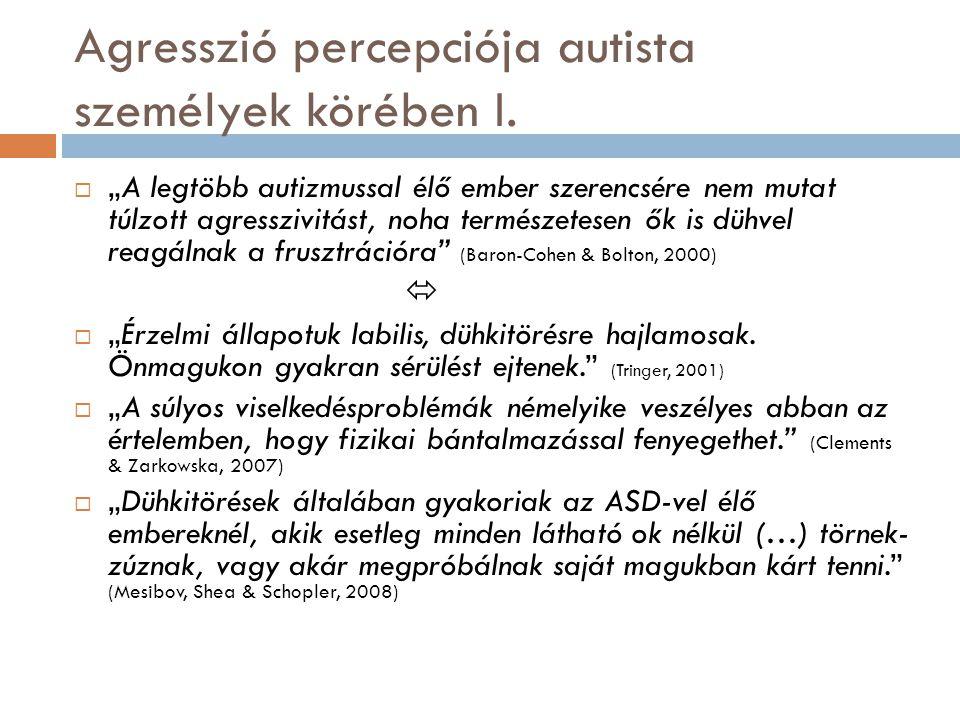 """Agresszió percepciója autista személyek körében I.  """"A legtöbb autizmussal élő ember szerencsére nem mutat túlzott agresszivitást, noha természetesen"""
