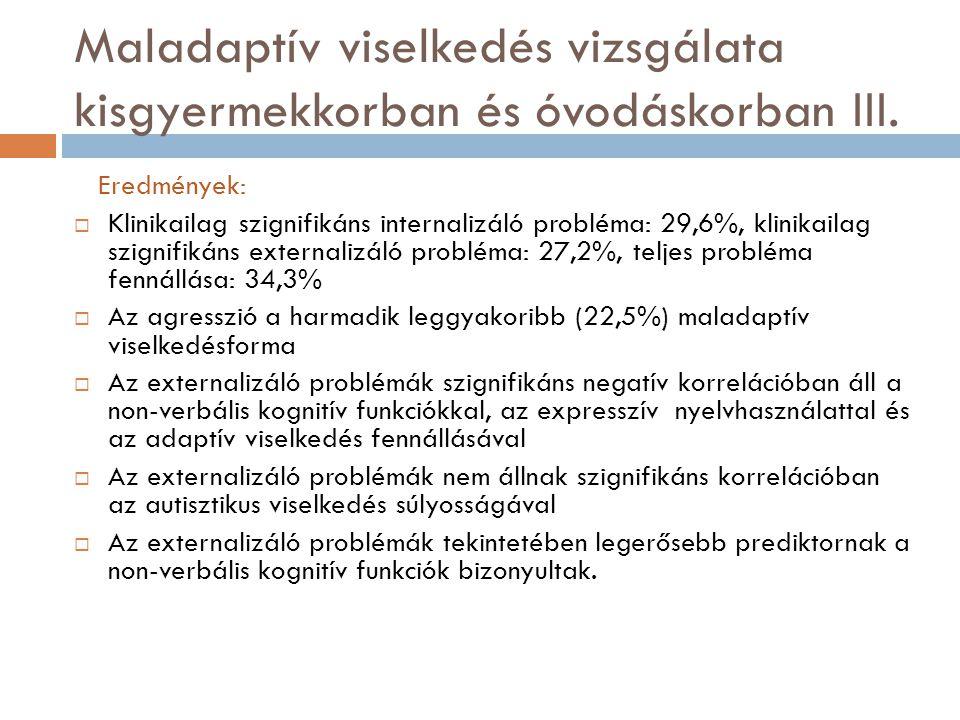 Maladaptív viselkedés vizsgálata kisgyermekkorban és óvodáskorban III. Eredmények:  Klinikailag szignifikáns internalizáló probléma: 29,6%, klinikail
