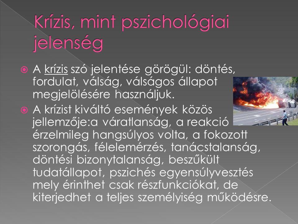  A krízis szó jelentése görögül: döntés, fordulat, válság, válságos állapot megjelölésére használjuk.  A krízist kiváltó események közös jellemzője: