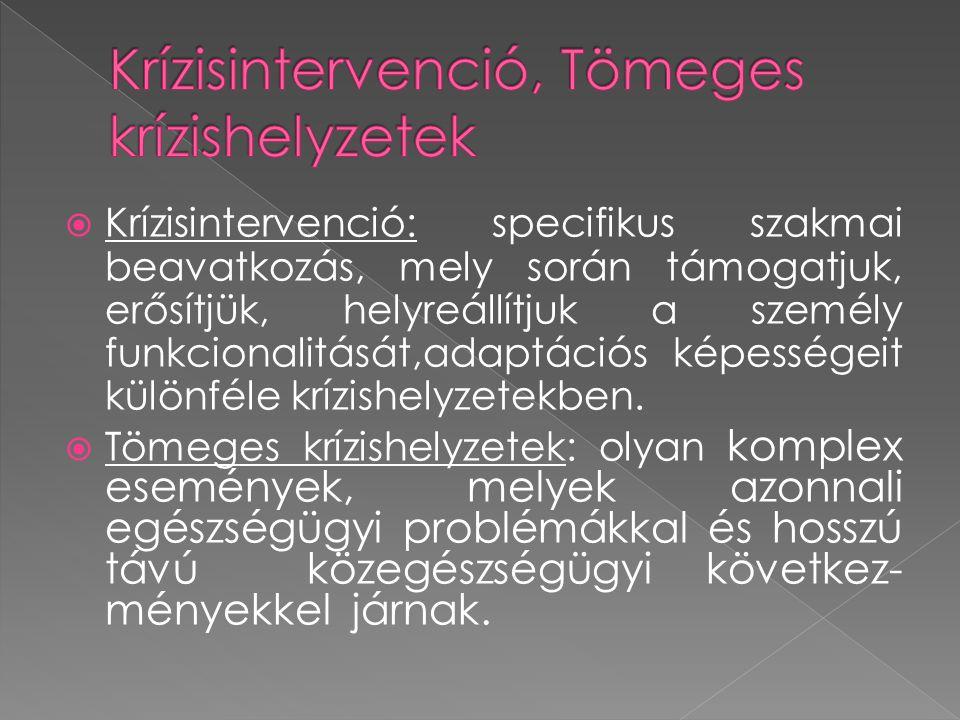  Krízisintervenció: specifikus szakmai beavatkozás, mely során támogatjuk, erősítjük, helyreállítjuk a személy funkcionalitását,adaptációs képességei