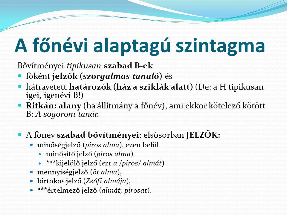 A főnévi alaptagú szintagma Jelzői bővítményt a főnév valamennyi mondatrészi szerepében kaphat.