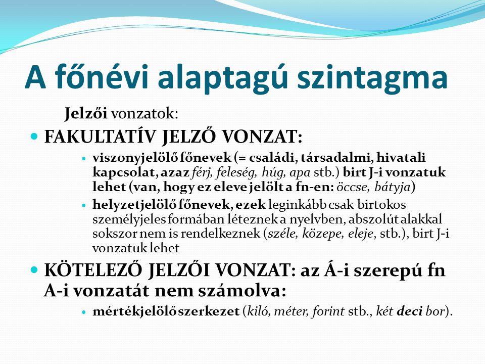 Az igenévi alaptagú szintagma A határozói igenévi szintagma: Az igenevek mindegyikéhez hasonló módon igeként bővül.