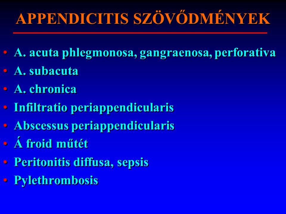 APPENDICITIS SZÖVŐDMÉNYEK A. acuta phlegmonosa, gangraenosa, perforativa A.
