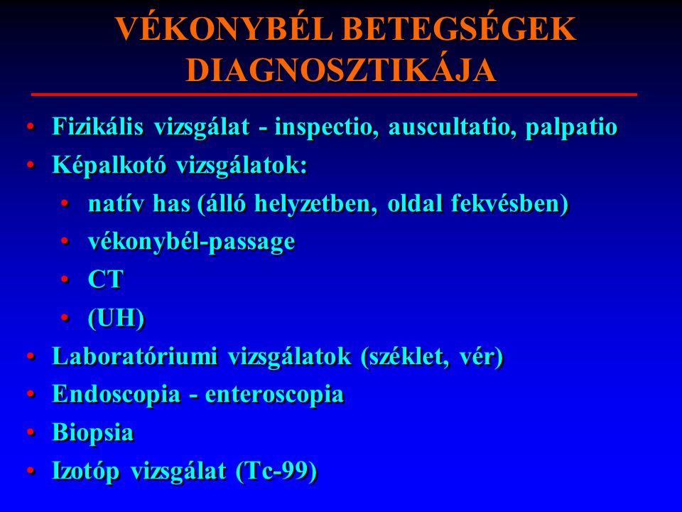 VÉKONYBÉL BETEGSÉGEK DIAGNOSZTIKÁJA Fizikális vizsgálat - inspectio, auscultatio, palpatio Képalkotó vizsgálatok: natív has (álló helyzetben, oldal fekvésben) vékonybél-passage CT (UH) Laboratóriumi vizsgálatok (széklet, vér) Endoscopia - enteroscopia Biopsia Izotóp vizsgálat (Tc-99) Fizikális vizsgálat - inspectio, auscultatio, palpatio Képalkotó vizsgálatok: natív has (álló helyzetben, oldal fekvésben) vékonybél-passage CT (UH) Laboratóriumi vizsgálatok (széklet, vér) Endoscopia - enteroscopia Biopsia Izotóp vizsgálat (Tc-99)