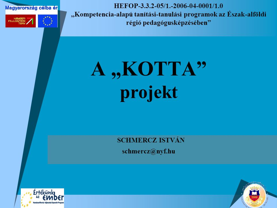 """HEFOP-3.3.2-05/1.-2006-04-0001/1.0 """"Kompetencia-alapú tanítási-tanulási programok az Észak-alföldi régió pedagógusképzésében A """"KOTTA projekt SCHMERCZ ISTVÁN schmercz@nyf.hu"""
