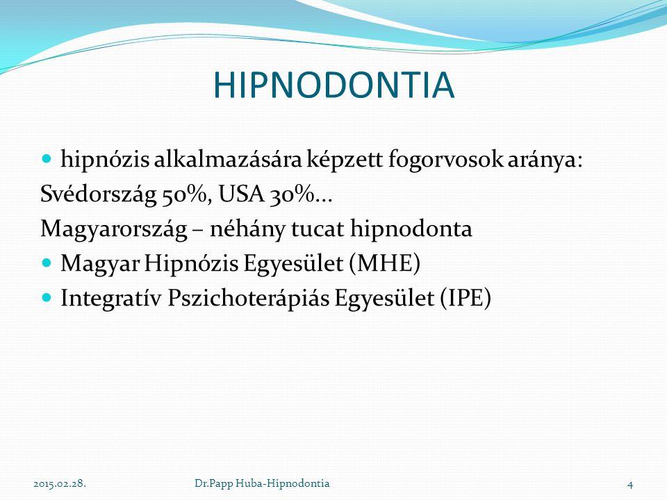 HIPNODONTIA hipnózis alkalmazására képzett fogorvosok aránya: Svédország 50%, USA 30%... Magyarország – néhány tucat hipnodonta Magyar Hipnózis Egyesü