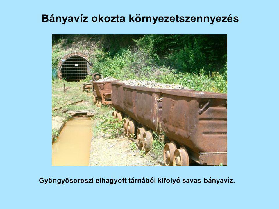 Bányavíz okozta környezetszennyezés Gyöngyösoroszi elhagyott tárnából kifolyó savas bányavíz.