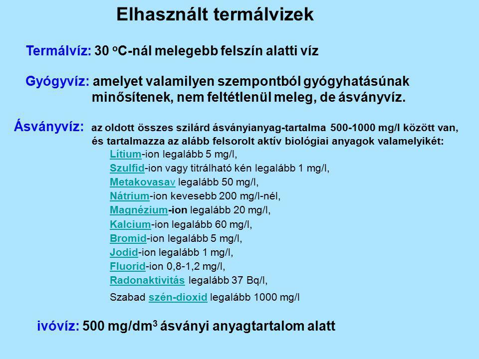 Elhasznált termálvizek Termálvíz: 30 o C-nál melegebb felszín alatti víz Gyógyvíz: amelyet valamilyen szempontból gyógyhatásúnak minősítenek, nem felt