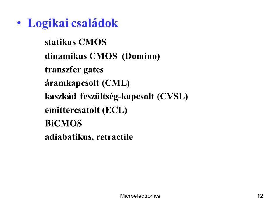 Microelectronics12 Logikai családok statikus CMOS dinamikus CMOS (Domino) transzfer gates áramkapcsolt (CML) kaszkád feszültség-kapcsolt (CVSL) emittercsatolt (ECL) BiCMOS adiabatikus, retractile